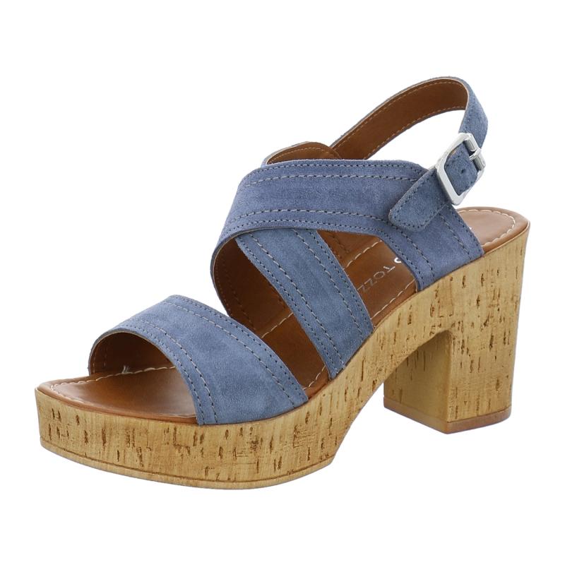 marco tozzi sandale mit korksohle in blau 1aschuh. Black Bedroom Furniture Sets. Home Design Ideas